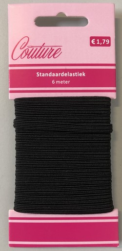 Elastiek 6-koords=5mm (6 m op kaart), Zwart, 10 krt.