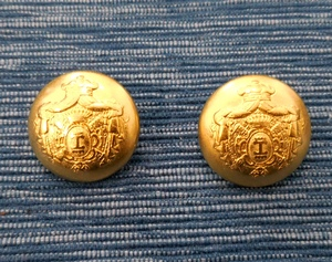 Button Metal 23mm, Goldcolour with Coat of Arms