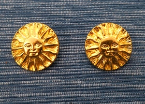 Button Metal 25mm, Goldcolour with Sunface